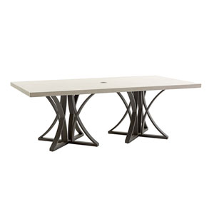 Cypress Point Ocean Terrace Aged Iron and Ivory 84 In. Dining Table with Weatherstone Top