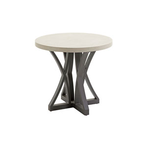 Cypress Point Ocean Terrace Aged Iron and Ivory Side Table