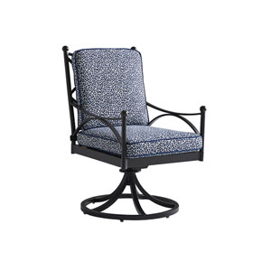 Pavlova Graphite and Blue Swivel Rocker Dining Chair