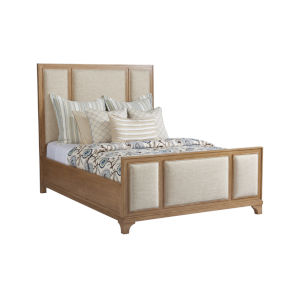 Newport Light Chestnut Brown Crystal Cove Upholstered Panel Queen Bed