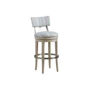 Malibu Warm Taupe Cliffside Swivel Upholstered Bar Stool