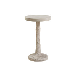 Malibu Warm Taupe 14-Inch Saddle Peak Round End Table