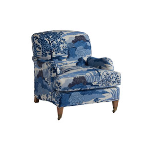 Upholstery Blue Sydney Chair With Brass Caster