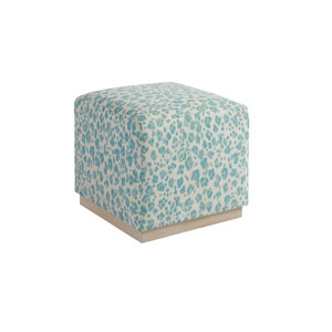 Upholstery Blue, Green and White Colby Ottoman