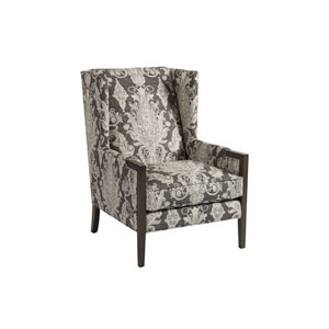 Upholstery Gray and Beige Stratton Wing Chair