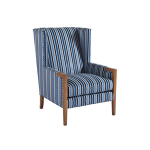 Upholstery Blue Stripe Stratton Wing Chair