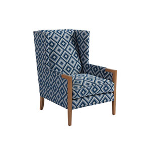 Upholstery Blue Pattern Stratton Wing Chair