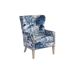 Upholstery Blue and White Avery Wing Chair