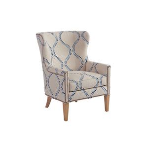 Upholstery Blue and Ivory Avery Wing Chair