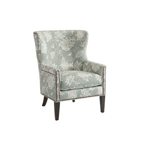 Upholstery Green and White Avery Wing Chair