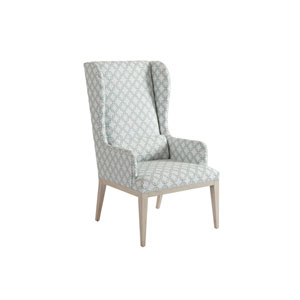 Newport Green and White Seacliff Upholstered Host Wing Chair
