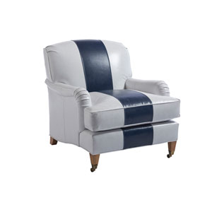 Upholstery Gray and Blue Sydney Leather Chair With Brass Caster