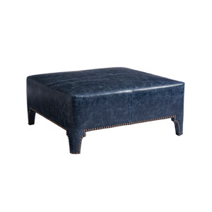 Upholstery Blue Sheffield Leather Cocktail Ottoman
