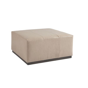 Upholstery Beige Clayton Leather Cocktail Ottoman