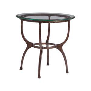 Metal Designs Antique Copper Patois Round End Table