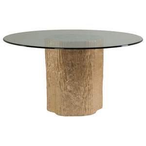 Signature Designs Gold Leaf Trunk Segment Round Dining Table With Glass Top