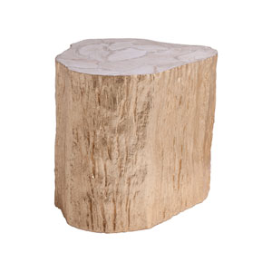 Signature Designs  Gold Leaf Trunk Segment Side Table