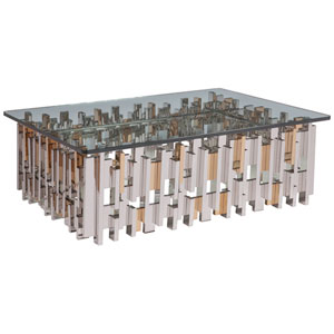 Signature Designs Gold Leaf and Argento Cityscape Rectangular Cocktail Table