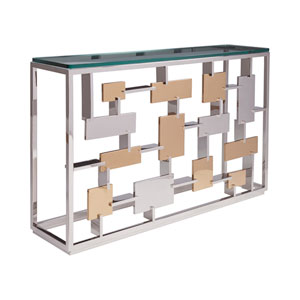 Signature Designs Gold Leaf and Argento Cityscape Console
