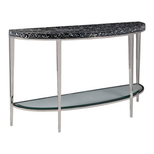 Signature Designs Black and Stainless Steel Mariana Demilune Console