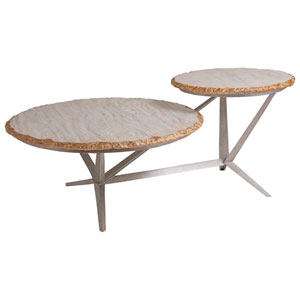 Signature Designs Iron and Gold Leaf Cosmos Tiered Round Cocktail Table