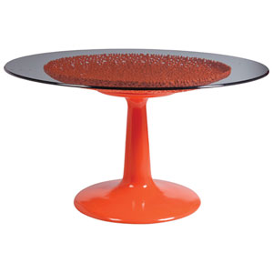 Signature Designs Orange Seascape Orange Dining Table With Glass Top