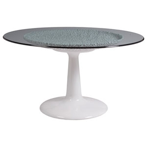 Signature Designs White Seascape Dining Table With Glass Top