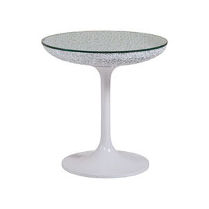 Signature Designs White Seascape Round Spot Table