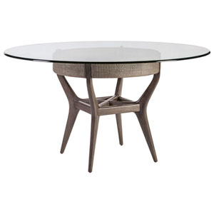 Signature Designs Metallic Gray and Nickel Formosa Round Dining Table With Glass Top