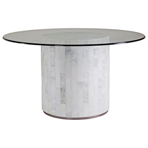 Signature Designs Light Gray Onyx Greta Round Dining Table With Glass Top