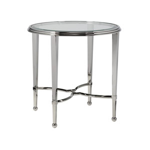 Signature Designs Stainless Steel Sangiovese Round End Table with Glass Top