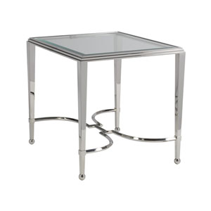 Signature Designs Stainless Steel Sangiovese Rectangle End Table with Glass Top