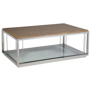 Signature Designs Brown and Stainless Steel Thatch Rectangular Cocktail Table