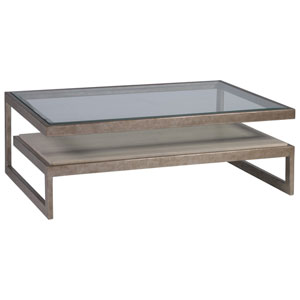 Signature Designs Light Gray and Silver Leaf Soiree Rectangular Cocktail Table