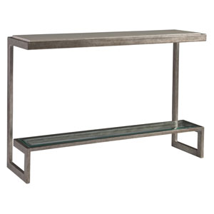 Signature Designs Light Gray and Silver Leaf Soiree Console
