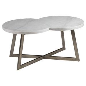 Signature Designs White and Antique Silver Leaf Aristo Rectangular Cocktail Table