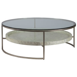 Signature Designs Champagne Cumulus Capiz Large Round Cocktail Table