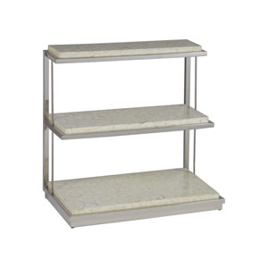 Signature Designs Ivory and Stainless Steel Joplin Three Tier Spot Table