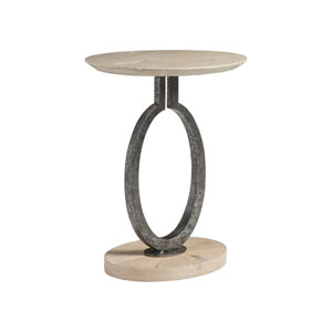 Signature Designs Beige and Antique Silver Clement Oval Spot Table