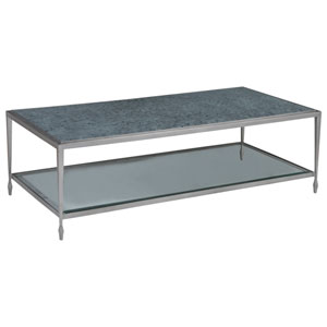 Signature Designs Antique Silver and Soft Gray Sashay Rectangular Cocktail Table