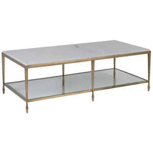 Signature Designs Antique Gold and Off White Sashay Rectangular Cocktail Table