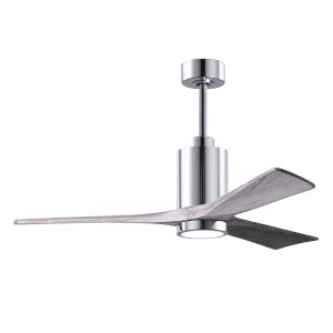 Patricia-3 Polished Chrome 52-Inch LED Ceiling Fan with Barnwood Tone Blades
