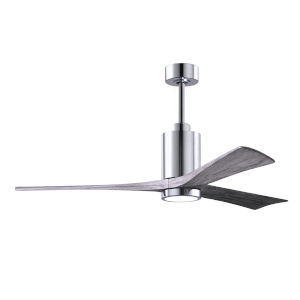 Patricia-3 Polished Chrome 60-Inch LED Ceiling Fan with Barnwood Tone Blades