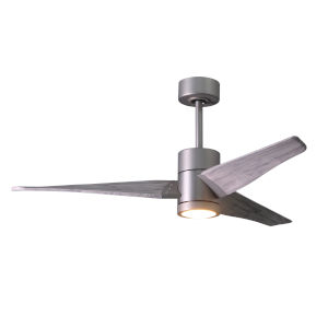 Super Janet Brushed Nickel 52-Inch LED Ceiling Fan with Barnwood Tone Blades