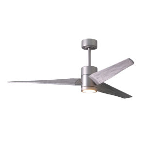 Super Janet Brushed Nickel 60-Inch LED Ceiling Fan with Barnwood Tone Blades