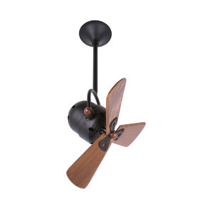 Bianca Directional 16-Inch Black Ceiling Fan with Wood Blades