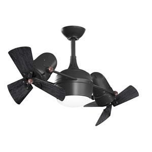Dagny Matte Black LED Rotational Ceiling Fan with Matte Black Wood Blades
