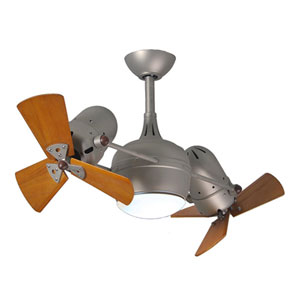 Dagny Brushed Nickel LED Rotational Ceiling Fan with Matte Black Wood Blades