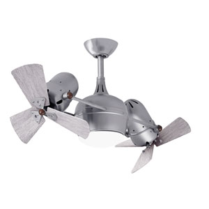 Dagny Brushed Nickel LED Rotational Ceiling Fan with Barn Wood Tone Wood Blades