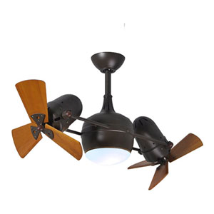 Dagny Textured Bronze LED Rotational Ceiling Fan with Matte Black Wood Blades